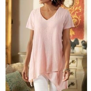 Soft Surroundings Neroli Asymmetric Cotton Top Tee